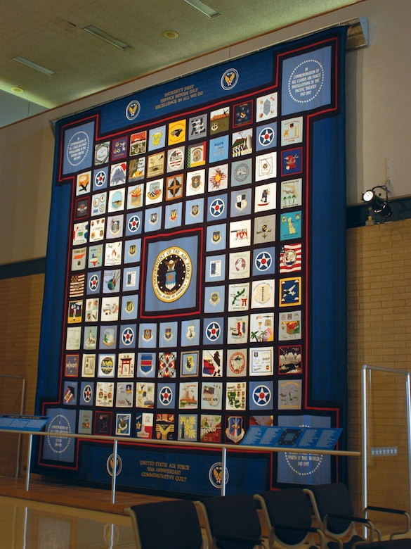 DAYTON, Ohio -- U.S. Air Force 50th Anniversary Commemorative Quilt on display at the National Museum of the U.S. Air Force. (U.S. Air Force photo)