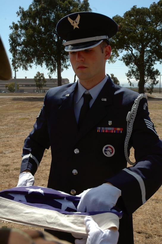 Staff Sgt. Aaron Gray, 30th Medical Group recently accepted an assignment to serve on the United States Air Force Honor Guard at Bolling AFB, D.C. Sergeant Gray has served on the base honor guard for three years.(Air Force photo/Staff Sgt. Allen Puckett)