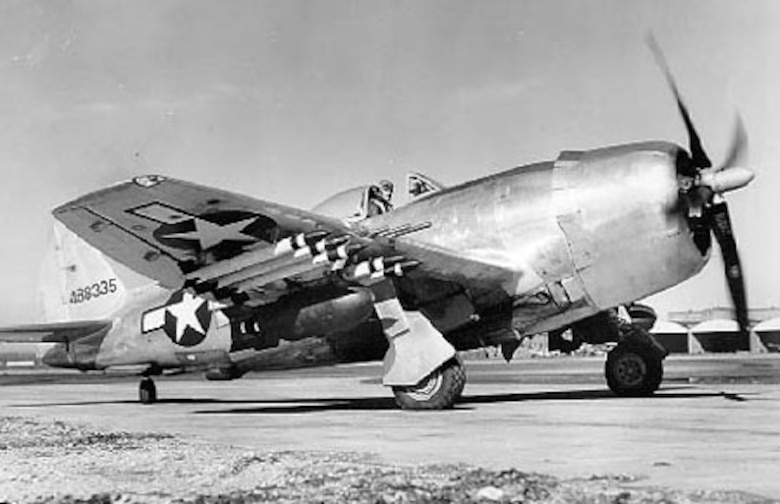 Republic P-47N-5 3/4 front view (S/N 44-88335, second block, five aircraft built). (U.S. Air Force photo)