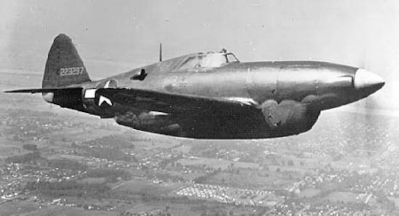 Republic XP-47H in flight. (U.S. Air Force photo)