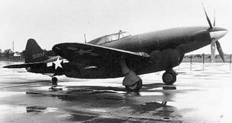 Republic XP-47H 3/4 front view. (U.S. Air Force photo)