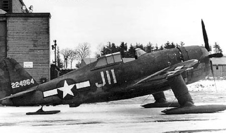 Republic P-47G-1-CU (S/N 42-24964) on skis. (U.S. Air Force photo)