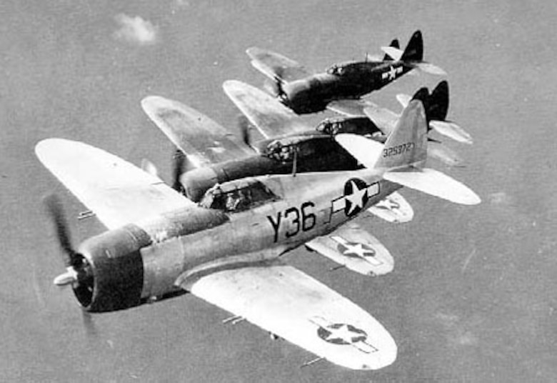 Republic P-47D 5-ship formation (Y36 is P-47D-21-RA, S/N 43-25372). (U.S. Air Force photo)