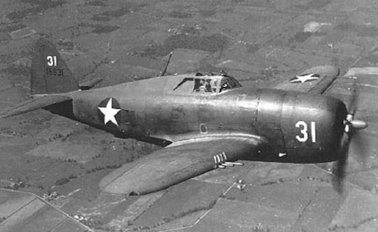 Republic P-47B-RA in flight. (U.S. Air Force photo)