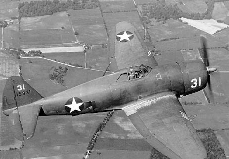 Republic P-47B-RA (S/N 41-5931) in flight. (U.S. Air Force photo)