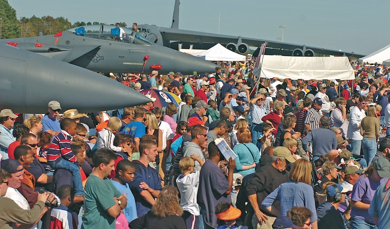 A crowd look onward at various aerial demonstrations during the Wings Over Wayne air show Oct. 15. More than 50,000 miltary and community members attended the event.