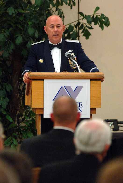 Air Force Chief of Staff, General T. Michael Moseley speaks at the Air Force Villages dinner Oct. 20, 2006 at Lackland Air Force Base, Texas. The Villages offer premier active living communities for retired and honorably seperated officers and their spouses, widows and widowers over the age of 62. (U.S. Air Force photo/Tech. Sgt. Larry A. Simmons)