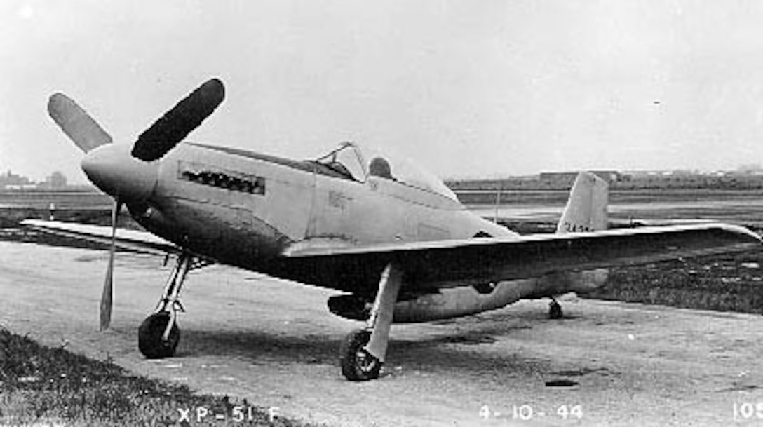 North American XP-51F 3/4 front view (S/N 43-43332). (U.S. Air Force photo)
