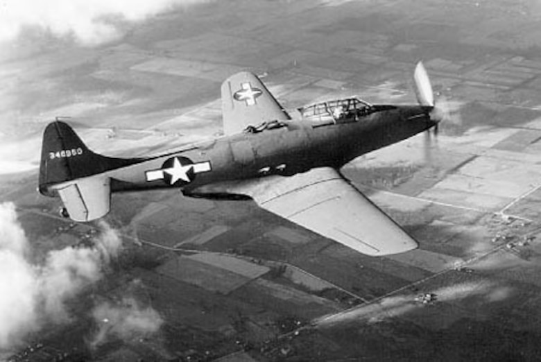 Fisher XP-75-GM in flight (S/N 43-46950, first aircraft built). (U.S. Air Force photo)