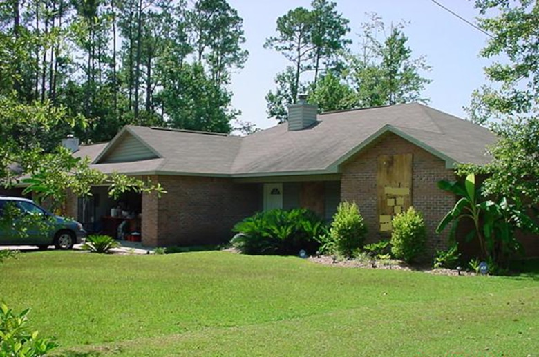 First Lt. Dawn Clifton and her family boarded up their three-bedroom home in Ocean Springs, Miss., before evacuating to Florida in August 2005 to escape Hurricane Katrina's projected path toward the Gulf Coast. She was assigned at Keesler Air Force Base, Miss., and is now stationed at the 366th Medical Operations Squadron at Mountain Home AFB, Idaho. (U.S. Air Force photo)