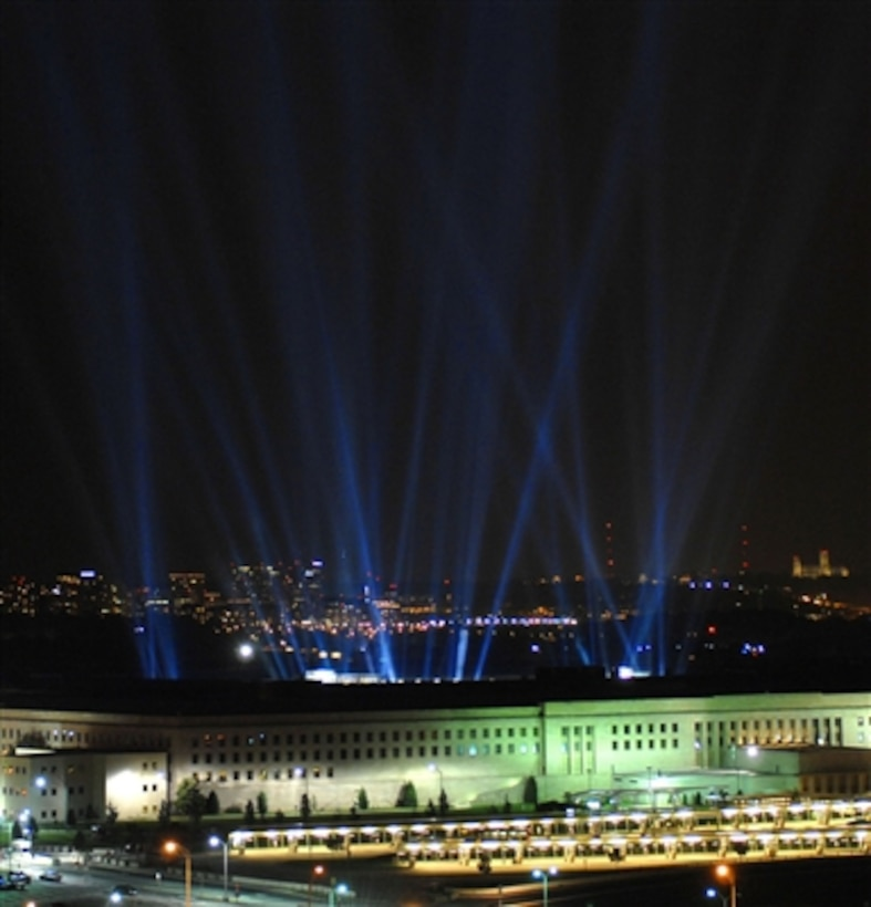 One hundred eighty-four beams of light are illuminated at the Pentagon during the Washington, D.C. Freedom Walk, Sept. 10, 2006.  The lights commemorate each life lost at the Pentagon on September 11, 2001.