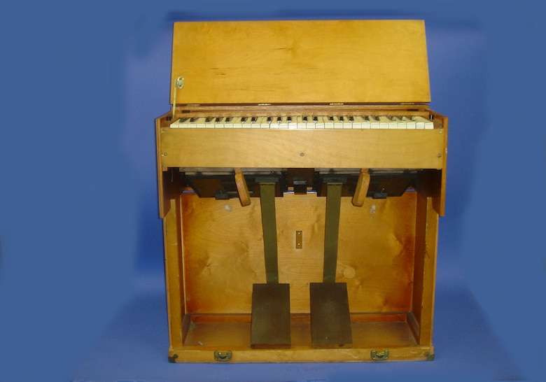 This organ was used by chaplains traveling to forward locations to minister to the troops during World War II. Before coming to the National Museum of the United States Air Force, it belonged to the 116th Air Control Wing Chaplain's Office at Warner-Robins Air Force Base. (U.S. Air Force photo)