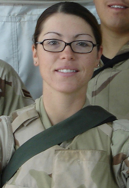 Airman 1st Class Elizabeth Jacobson was killed while providing convoy security Sept. 28 near Camp Bucca, Iraq, when the vehicle she was riding in was hit by an improvised explosive device. (U.S. Air Force photo)
