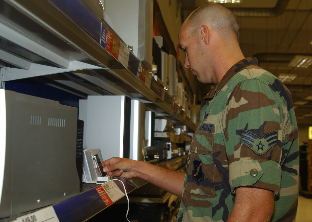 Senior Airman Brian Conley, 39th Maintenace Squadron, looks at the selection of electronic equipment at the Base Exchange Tuesday. (U.S. Air Force photo by Airman 1st Class Nathan Lipscomb)