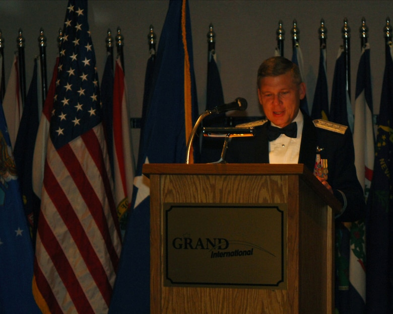 MINOT AIR FORCE BASE, N.D. -- Lt. Gen. Robert Elder Jr., 8th Air Force commander, addresses the audience at the 59th Air Force Birthday Ball at the Grand International Inn here Saturday. (U.S. Air Force photo by Airman 1st Class Joe Rivera)