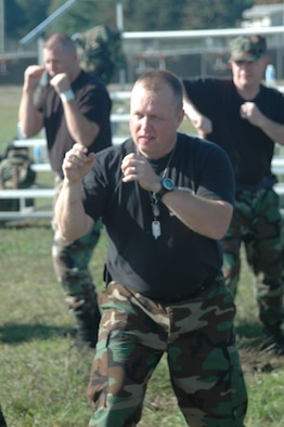 Capt. Mark Bialas, an Air Force reservist with the 439th Aeromedical Evacuation Squadron, trains in a self-defense class during the Junior Officer Leadership Development Seminar (JOLDS). The seminar was held Sept. 16-17 at Westover. JOLDS teaches leadership, followership, team-building, networking, accomplishing goals, and time management.