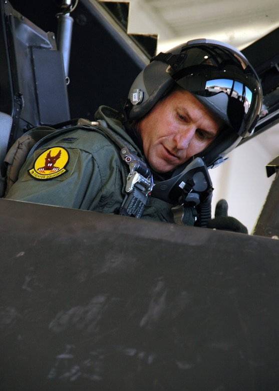 Colonel David Goldfein, Commander, 49th Fighter Wing, prepares before flight on F-117 on September 14, 2006, Holloman Air Force Base, New Mexico. This will be Col. Goldfein's first flight of the F-117 since assuming command at Holloman. US Air Force photo by Airman Jamal Sutter.