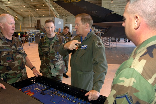 Gen. Ronald Keys discusses the maintenance of the F-117A with Col. Gary Bryson, Maintenance Group commander, during a recent visit to Holloman AFB, NM.
