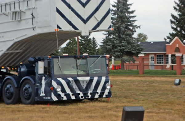 A transporter erector is added to the static display at Warren's front gate recently.