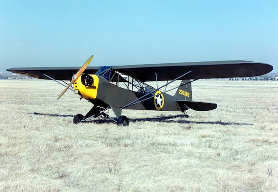 The Piper L-4 Grasshopper is shown at the National Museum of the United States Air Force. (U.S. Air Force photo)