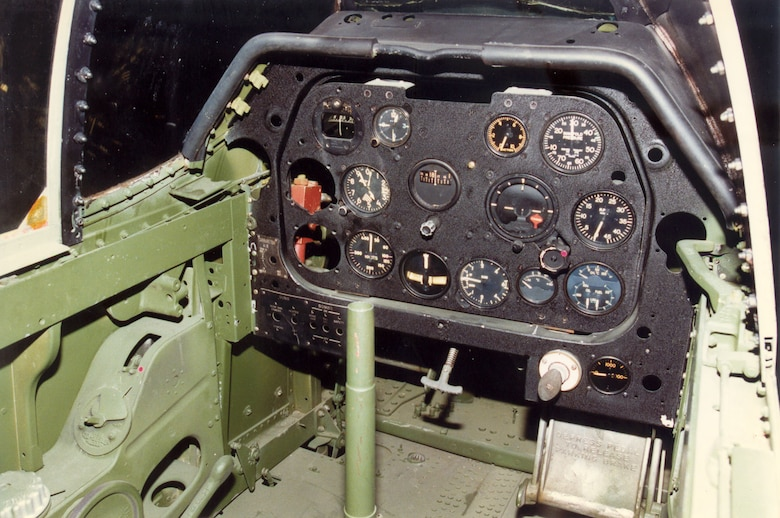 DAYTON, Ohio -- North American A-36A cockpit at the National Museum of the United States Air Force. (U.S. Air Force photo)