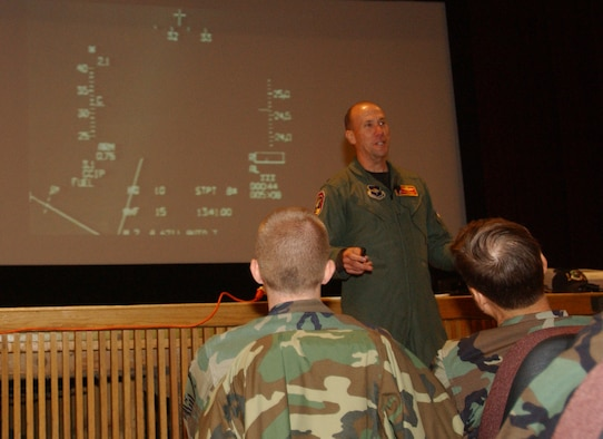 MINOT AIR FORCE BASE, N.D.  -- Col. Mike Roberts, 178th Fighter Wing vice commander, from Springfield Air National Guard Base, Ohio, talks to Airmen at the base theater about his experiences as a former POW. Colonel Roberts used his cockpit's heads up display video from the evening of January 19, 1991 to describe how his F-16 was shot down during a bombing raid over Baghdad, Iraq during Operation Desert Storm. The colonel was the guest of honor during the base's POW/MIA Recognition Day Sept. 22. (U.S. Air Force photo by Staff Sgt. Joe Laws)