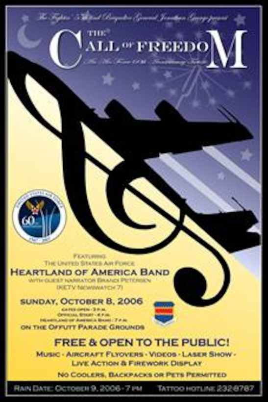 """""""The Call of Freedom,"""" A Military Tattoo,  will offer spectators a unique blend of music, theater and the military experience featuring the United States Air Force's Heartland of America Band. Gates open at 3 p.m. Oct. 8 at the Offutt Parade Ground. The event is free and open to the public. Guests should enter the base through the SAC Gate (off Capehart Rd.) They will be directed to free parking. Shuttle busses will transport guests to the event. Guests should plan for security similiar to that of an airport. All vehicles and belongings will be subject to search. Guests can bring lawn chairs and blankets but should not to bring coolers, backpacks, weapons or pets. The rain date (if needed) is Oct. 9  (Graphic by Josh Plueger)"""