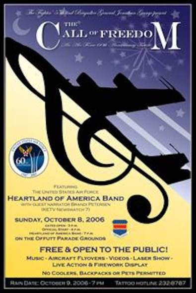 """The Call of Freedom,"" A Military Tattoo,  will offer spectators a unique blend of music, theater and the military experience featuring the United States Air Force's Heartland of America Band. Gates open at 3 p.m. Oct. 8 at the Offutt Parade Ground. The event is free and open to the public. Guests should enter the base through the SAC Gate (off Capehart Rd.) They will be directed to free parking. Shuttle busses will transport guests to the event. Guests should plan for security similiar to that of an airport. All vehicles and belongings will be subject to search. Guests can bring lawn chairs and blankets but should not to bring coolers, backpacks, weapons or pets. The rain date (if needed) is Oct. 9  (Graphic by Josh Plueger)"