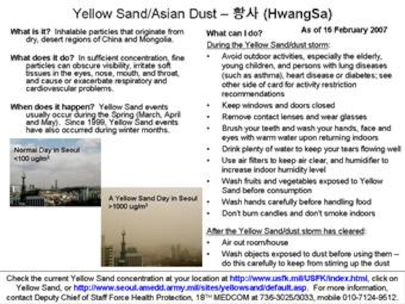 Yellow sand information - Part 1