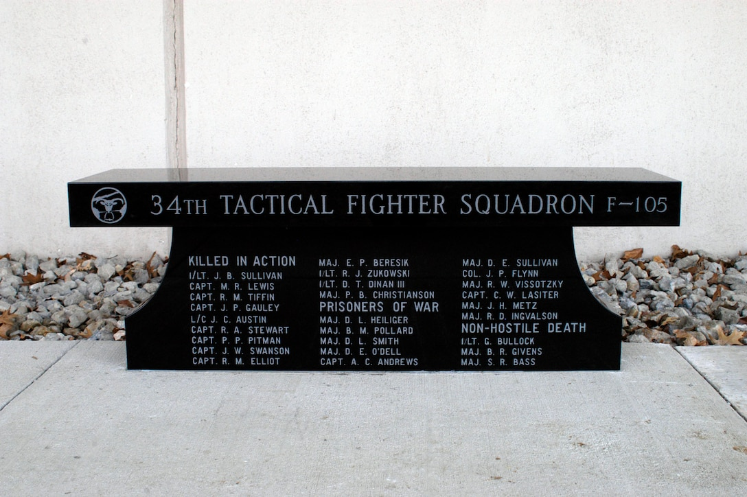 DAYTON, Ohio - 34th Tactical Fighter Squadron memorial bench at the National Museum of the U.S. Air Force. (U.S. Air Force photo)