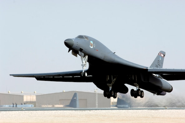 A B-1B Lancer takes off from the 379th Air Expeditionary Wing in Southwest Asia. B-1s from the 34th Expeditionary Bomb Squadron were once again called on to increase operations in support of ground forces in Afghanistan through precision bombing and shows of force and presence. (U.S. Air Force photo/Staff Sgt. David Miller)