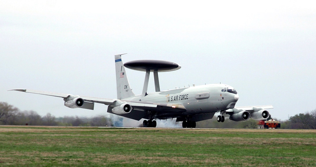 An E-3 Sentry airborne warning and control system aircraft, known as AWACS, lands at Tinker Air Force Base, Okla., March 23 after completing a mission.  The first E-3 touched down at Tinker exactly 30 years to the day and began an new era for air surveillance.  (U.S. Air Force photo/Staff Sgt. Stacy Fowler)
