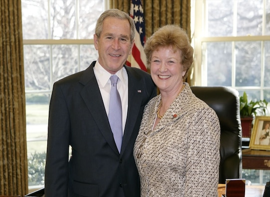 Gail VanVranken, the driving force of Boatsie's Boxes, meets with President George Bush at the White House. (Courtesy photo)