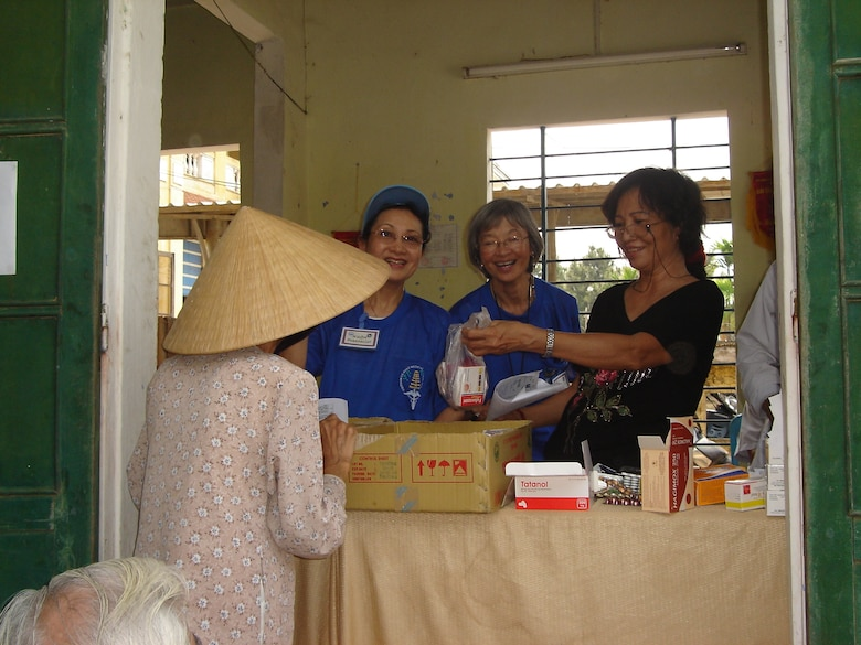 VIETNAM -- The pharmacy staff at Thuy Bieu village.  From L to R:  Mrs. Nhon Tran, Aloha Medical Mission, Mrs. Thanh Lo Sananikone, AMM, and Ms.  Pham Thi Tao, volunteer pharmacist from Thuong Lac Dispensary. This humanitarian assistance effort was funded by US Pacific Command as a high priority Asia-Pacific Regional Initiative. It was planned and executed as a first-ever joint venture by US Army Pacific (USARPAC), Pacific Air Forces, 624 Regional Support Group, and two Non-Governmental Agencies: The East Meets West Foundation (EMWF) based in Vietnam and the AMM based in Hawaii.  (photo by Capt Fritz Craft)