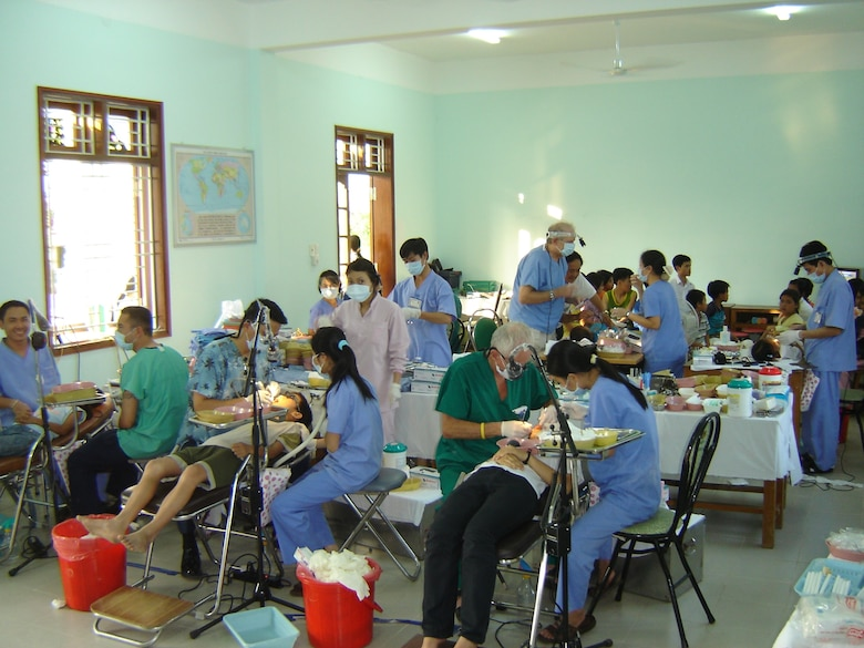 VIETNAM -- The Pacific Air Forces Dental team at Xuan Phu Orphanage in Hue.  This humanitarian assistance effort was funded by US Pacific Command as a high priority Asia-Pacific Regional Initiative. It was planned and executed as a first-ever joint venture by US Army Pacific (USARPAC), Pacific Air Forces (PACAF), 624 Regional Support Group (624 RSG), and two Non-Governmental Agencies: The East Meets West Foundation (EMWF) based in Vietnam and the Aloha Medical Mission (AMM) based in Hawaii.  (photo by Capt Fritz Craft)
