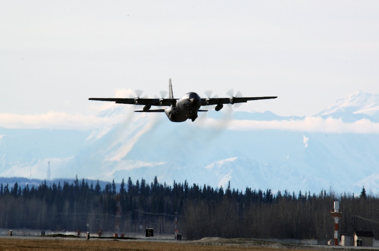 EIELSON AIR FORCE BASE, Alaska -- A French C-130 aircraft from the Armee de l'Air (French Air Force), takes off for a mission during Red Flag-Alaska 07-1 here on April 10. Red Flag-Alaska is a Pacific Air Forces-directed field training exercise for U.S. forces flown under simulated air combat conditions. It is conducted on the Pacific Alaskan Range Complex with air operations flown out of Eielson and Elmendorf Air Force Bases.