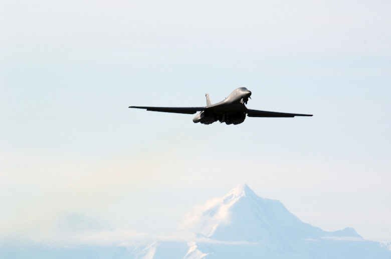 EIELSON AIR FORCE BASE, Alaska -- A B-1B Lancer from Ellsworth Air Force Base, South Dakota takes off for a mission during Red Flag-Alaska 07-1 here on April 10. Red Flag-Alaska is a Pacific Air Forces-directed field training exercise for U.S. forces flown under simulated air combat conditions. It is conducted on the Pacific Alaskan Range Complex with air operations flown out of Eielson and Elmendorf Air Force Bases. 