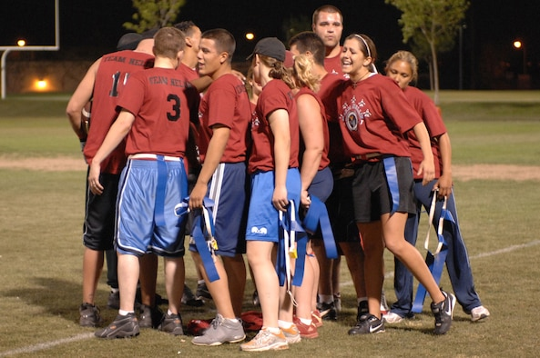 Team Nellis flag football team celebrates after finishing 2nd at the Corporate Challenge Flag football finals April 3, 2007. (U.S. Air Force Photo/Senior Airman Jason Huddleston)