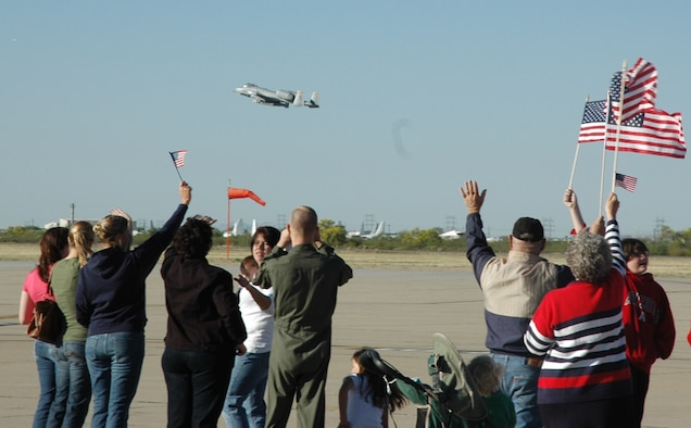 An A-10 Thunderbolt II from the 354th Fighter Squadron takes off from D-M, as friends, family members and colleagues bid farewell. Twelve A-10 pilots from the 354th FS deployed to Afghanistan April 7 to support Operation Enduring Freedom. (U.S. Air Force photo/Airman 1st Class Melissa Taeu)