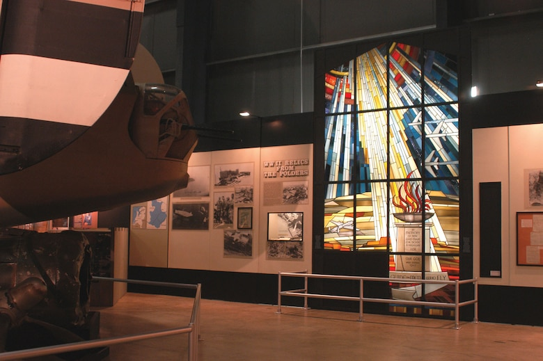 "DAYTON, Ohio -- The ""Lady Be Good"" Stained Glass Window from the Wheelus Air Force Base Chapel is now on display at the National Museum of the United States Air Force. (U.S. Air Force photo)"