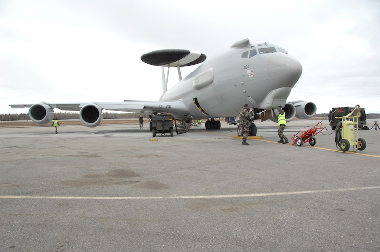 EIELSON AIR FORCE BASE, Alaska -- A French E-3 AWACS, Armee de l'Air, is readied for take off prior to a mission during Red Flag-Alaska 07-1 here on April 11. Red Flag-Alaska is a Pacific Air Forces-directed field training exercise for U.S. forces flown under simulated air combat conditions. It is conducted on the Pacific Alaskan Range Complex with air operations flown out of Eielson and Elmendorf Air Force Bases.  (U.S. Air Force Photo by Staff Sgt Joshua Strang)