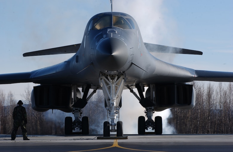 EIELSON AIR FORCE BASE, Alaska -- A B-1B Lancer, Ellsworth Air Force Base, S.D., starts its engine on April 13 during Red Flag-Alaska 07-1. Red Flag-Alaska is a Pacific Air Forces-directed field training exercise for U.S. forces flown under simulated air combat conditions. It is conducted on the Pacific Alaskan Range Complex with air operations flown out of Eielson and Elmendorf Air Force Bases. (U.S. Air Force Photo by Airman 1st Class Jonathan Snyder)