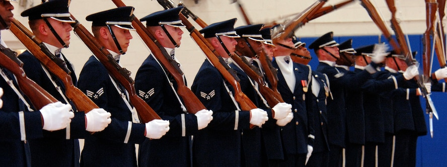 Members of the USAF Honor Guard Drill Team from Bolling AFB, Washington, D.C., showcase their rifle drill performance at Hill AFB's Hess Fitness Center April 3. The Drill Team promotes the Air Force mission by performing at public and military venues to recruit, retain and inspire airmen.