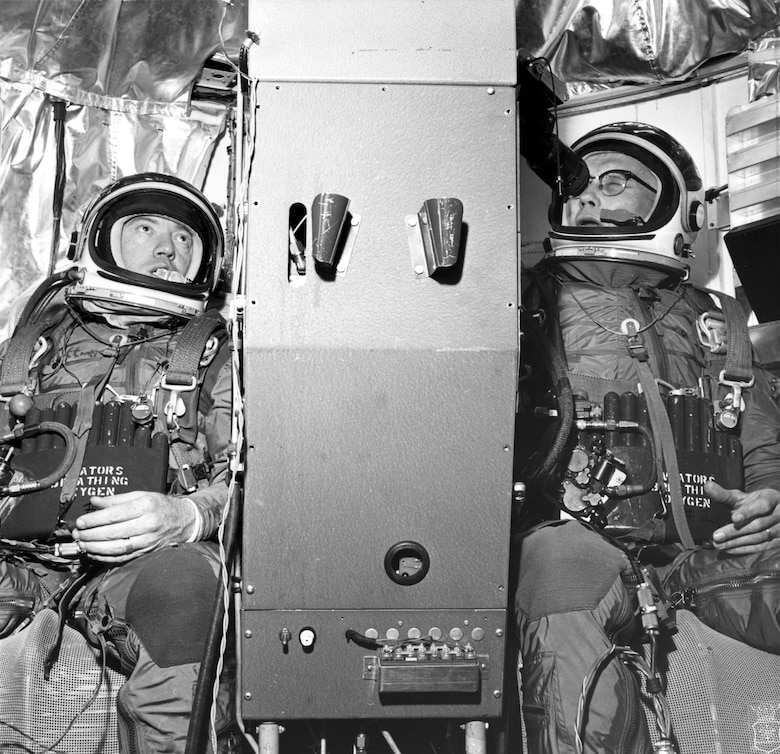 Project Stargazer was a balloon astronomy experiment where Col. Kittinger and Astronomer William C. White hovered for 18.5 hours to check variations in brightness of star images. (U.S. Air Force photo)