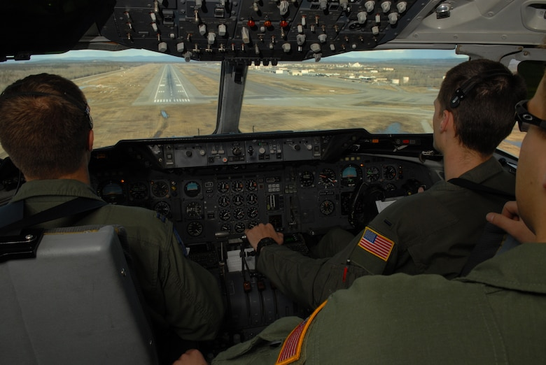 EIELSON AIR FORCE BASE, Alaska -- Capt. David Diehl and 1st  Lt. Ryan Maclean, 6th Air Refueling Squadron, Travis AFB, C.A., prepare to land a KC-10 Extender on April 16 during Red Flag-Alaska 07-1. Red Flag-Alaska is a Pacific Air Forces-directed field training exercise for U.S. forces flown under simulated air combat conditions. It is conducted on the Pacific Alaskan Range Complex with air operations flown out of Eielson and Elmendorf Air Force Bases. (U.S. Air Force Photo by Airman 1st Class Jonathan Snyder)