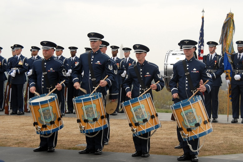ARLINGTON, Va. -- The Air Force Honor Band performed numerous musical numbers for the Air Force Review ceremony April 14 at the Air Force Memorial.  Maj. Gen. Robert Smolen, Air Force District of Washington commander, was the host and reviewing official for the event.