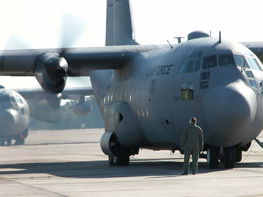 An Arkansas Air National Guard C-130 prepares to taxi for a training flight in this file photo. (U.S. Air Force photo)
