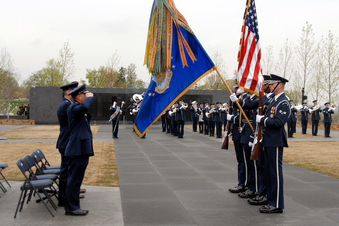 The Air Force Honor Guard presents the colors during the Air Force Review ceremony April 14 at the Air Force Memorial in Arlington, Va. Maj. Gen. Robert L. Smolen, the Air Force District of Washington commander, was the host of the event, as well as the reviewing official. (U.S. Air Force photo/Staff Sgt. Madelyn Waychoff)