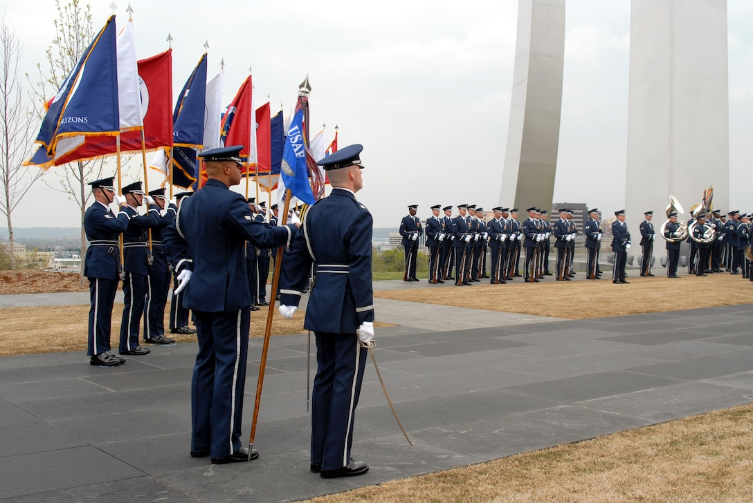 The Air Force Honor Guard performs a pass and review ceremony for the reviewing official, Maj. Gen. L. Robert Smolen, April 14 at the Air Force Memorial in Arlington, Va. General Smolen is the Air Force District of Washington commander. (U.S. Air Force photo/Staff Sgt. Madelyn Waychoff)