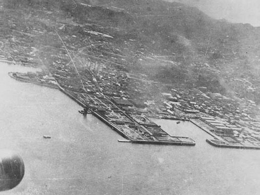 Major General James Doolittle's raid on Tokyo. Yokosuka Japan Naval base taken from B-25, April 18, 1942.(National Archives, U.S. Navy 80-G-063596).